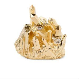 Kendra Scott Metal Crystal Ring Holder In Gold